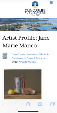AN ARTIST PROFILE 2016  CAPE COD LIFE ANNUAL ART ISSUE