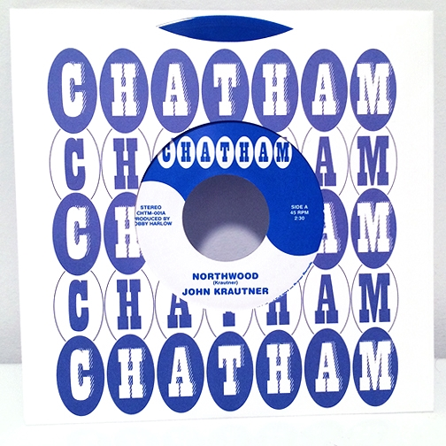"""Record Sleeve and label for John Krautner's 7"""". There use to be a grocery store in Michigan called Chatham. The idea was to make a record as if the grocery store made it as a promotional item. I recreated the logo based on videos and ads people have posted online over the years. Two versions of the logo were created; one to stand on its own and one to be reversed out. Both were used on different sides of the record."""
