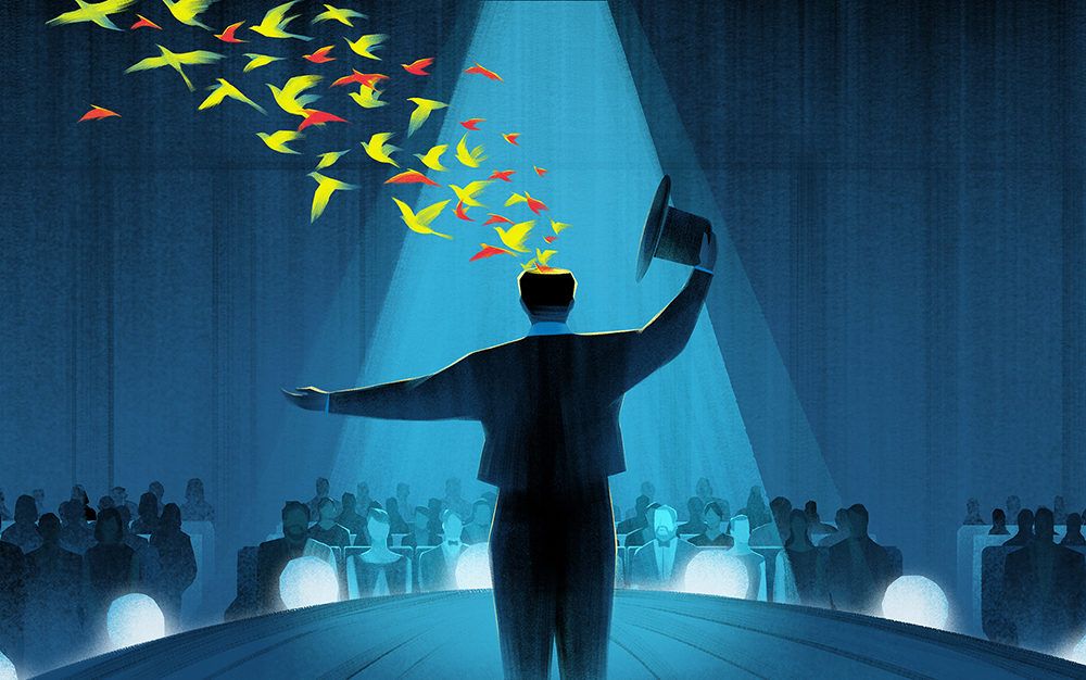 Originality Reveals | AD: Minh Uong  Illustration for an   article  about Adam Grant, a workplace magician, wrote books about revealing his secrets of originality to the public.
