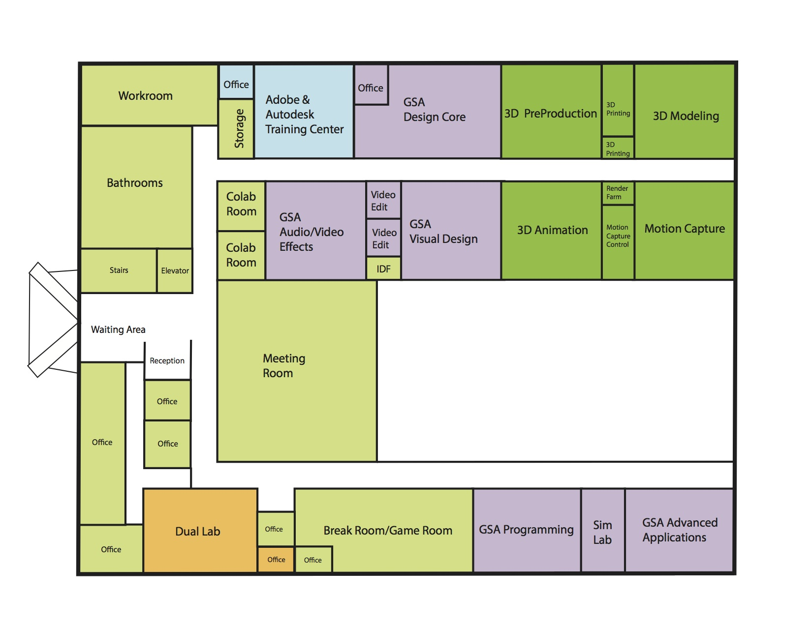 Proposed floor plan for the second floor.  Eleven classrooms and labs for 5 programs.