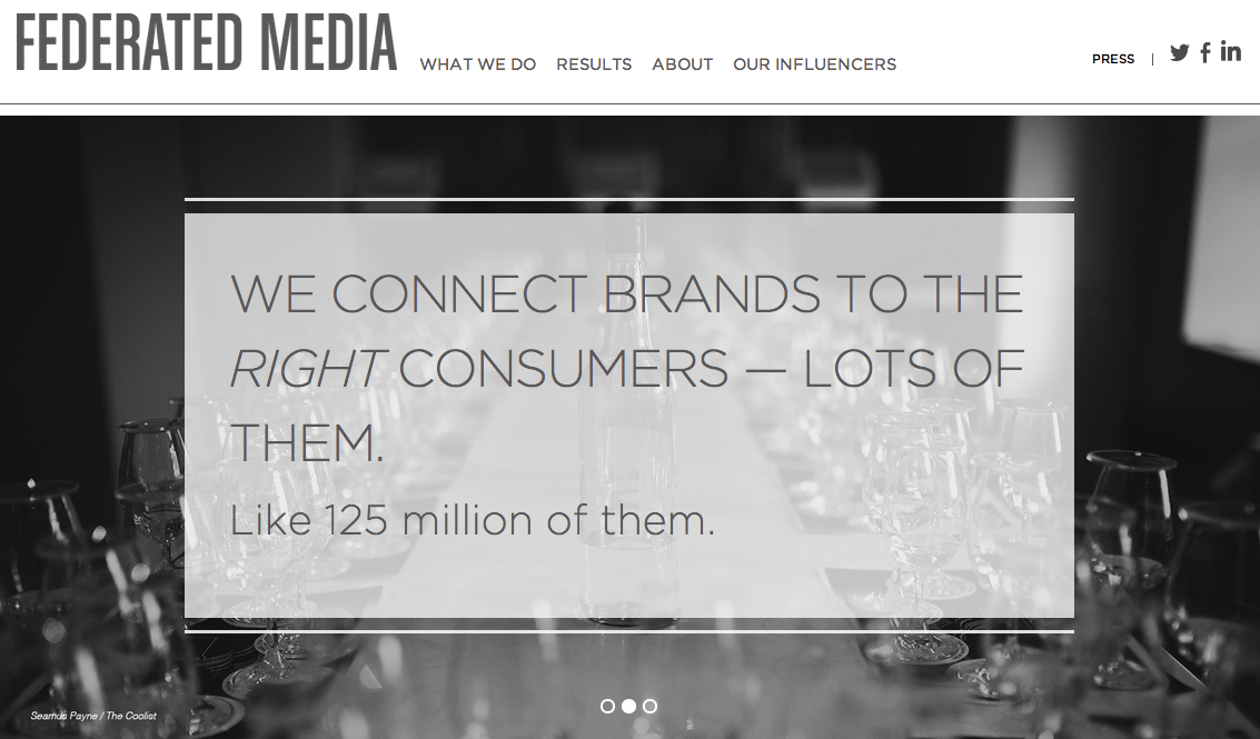 FEDERATED MEDIA - WEB CONTENT STRATEGY & COPY