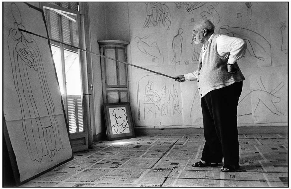 HENRI MATISSE in his studio by Robert Capa, August 1949