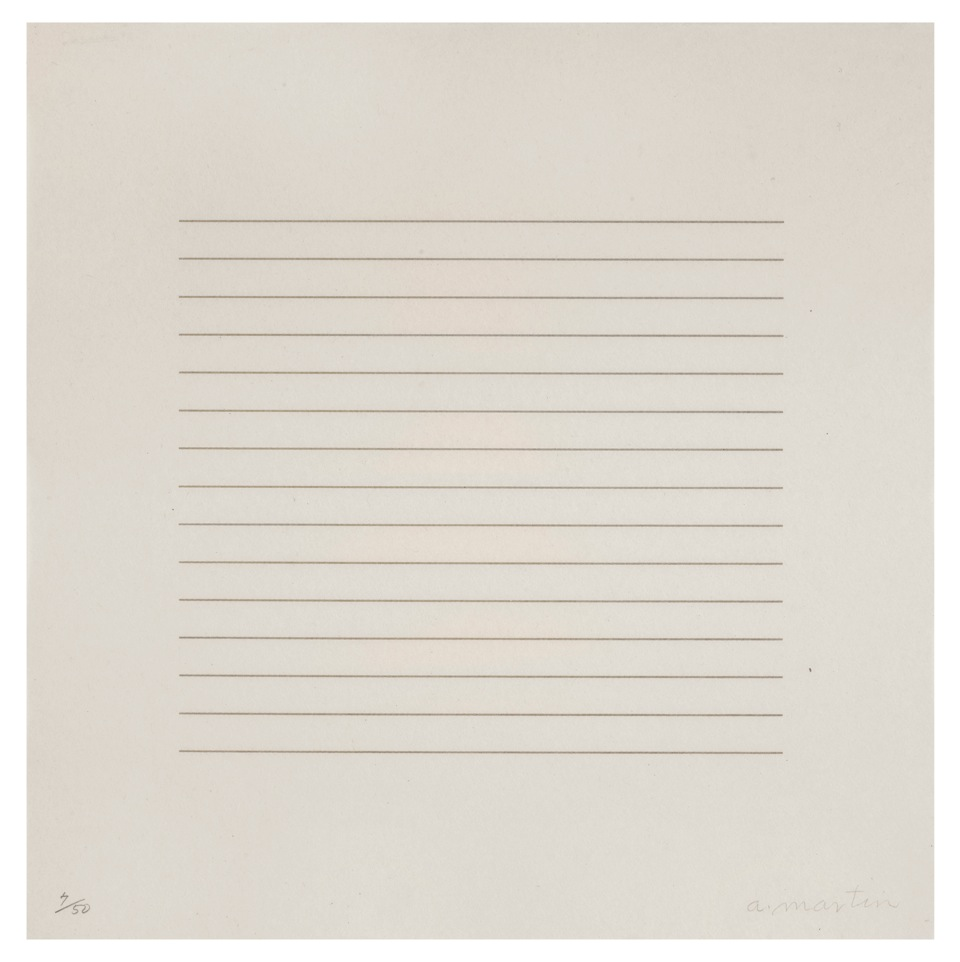 AGNES MARTIN,On A Clear Day, 1973 Screenprint on Paper 12 x 12 ed. 50