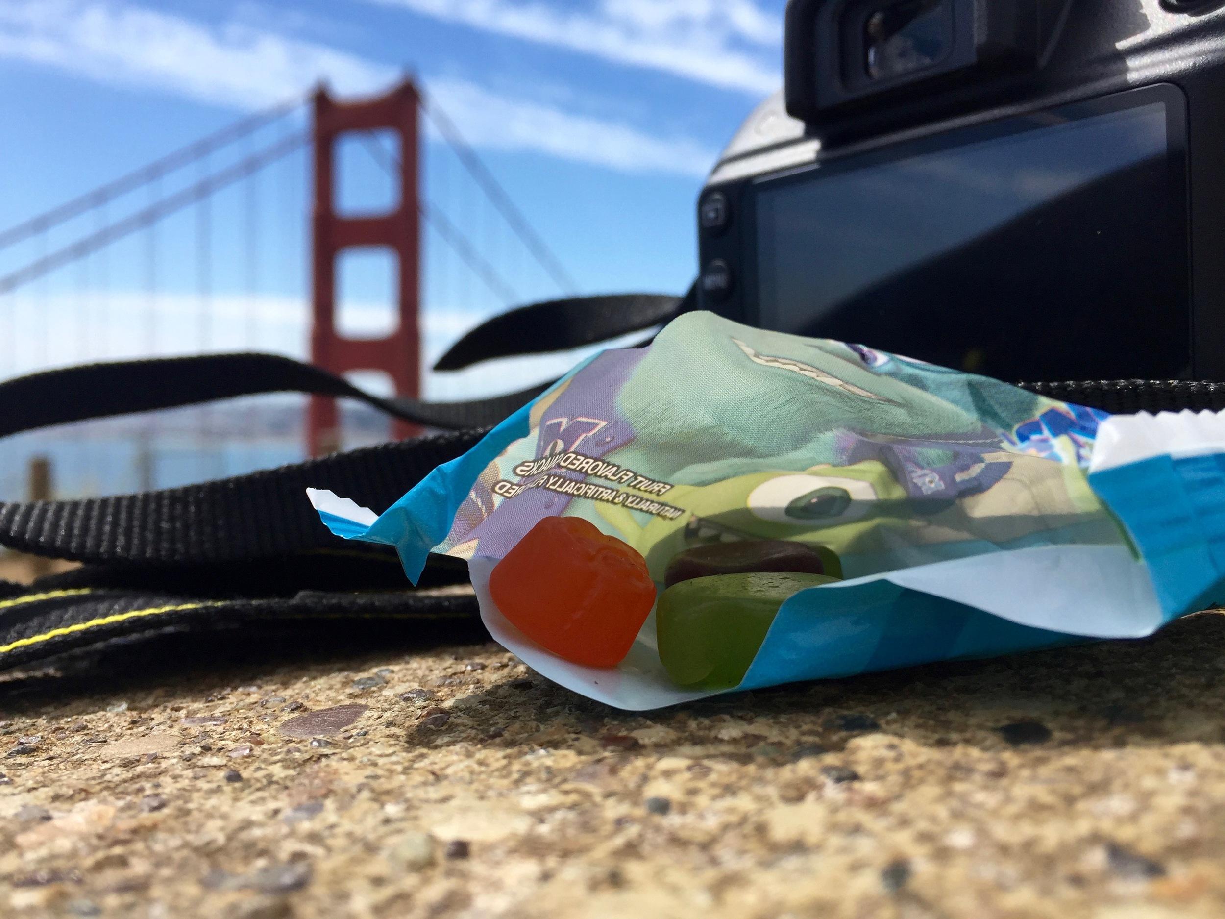 Sitting on a rock, thinking, eating fruit snacks, watching the traffic around Golden Gate Bridge. 🙌