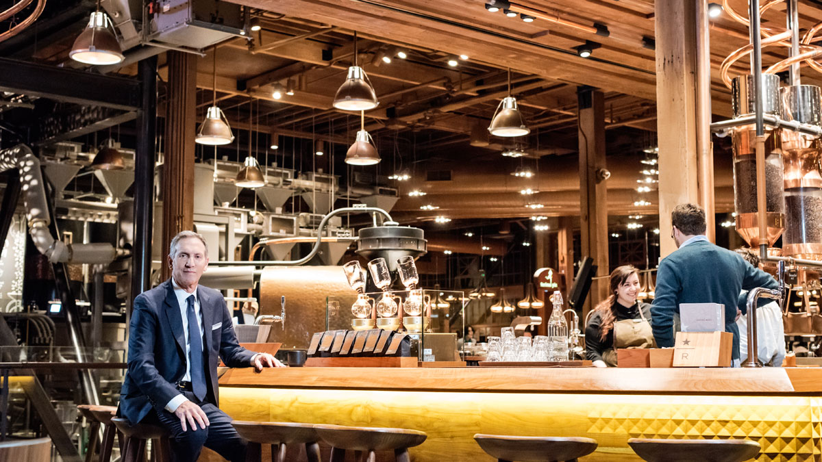Howard Schultz in a Starbucks Offering,  Image:  Jamel Toppin for Forbes