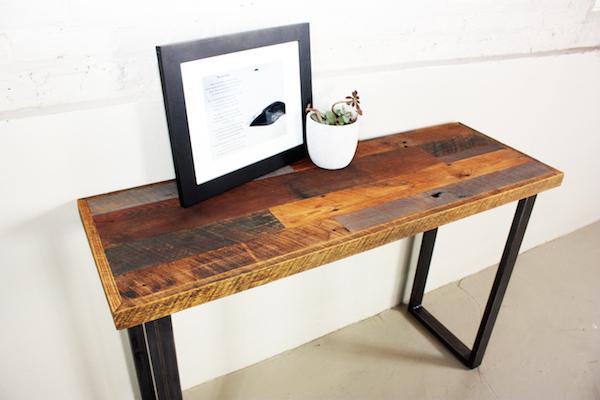 Reclaimed Wood Patchwork Hall Table U Shaped Metal Legs What We Make