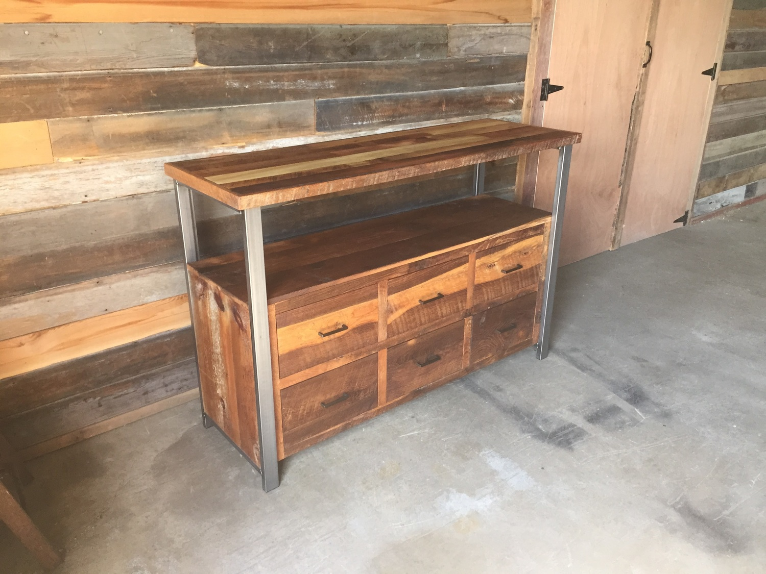 media console reclaimed wood shelving 3 storage book shelf from roughsawn old growth fir and recycled steel three shelf option