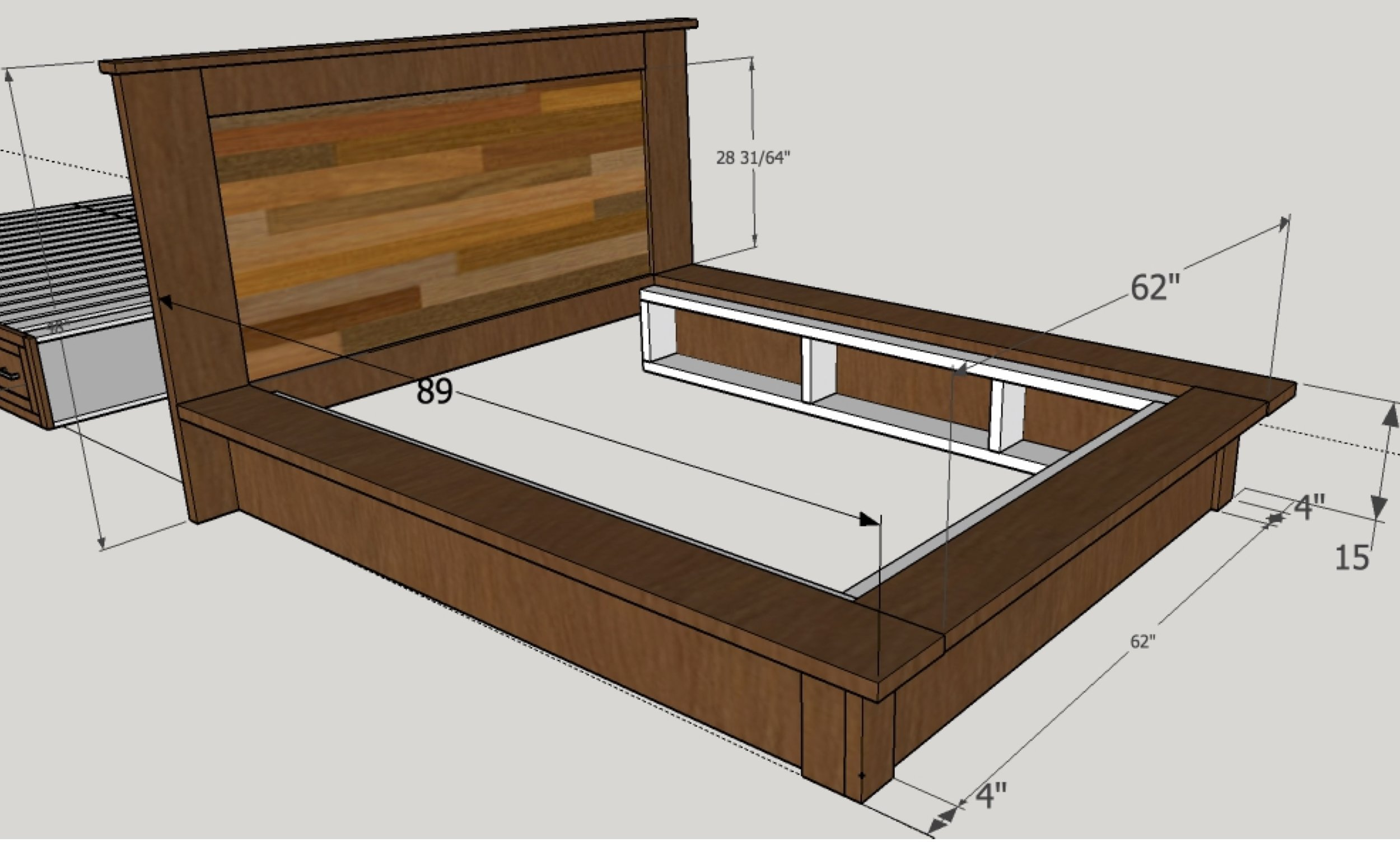 Reclaimed wood bed rendering