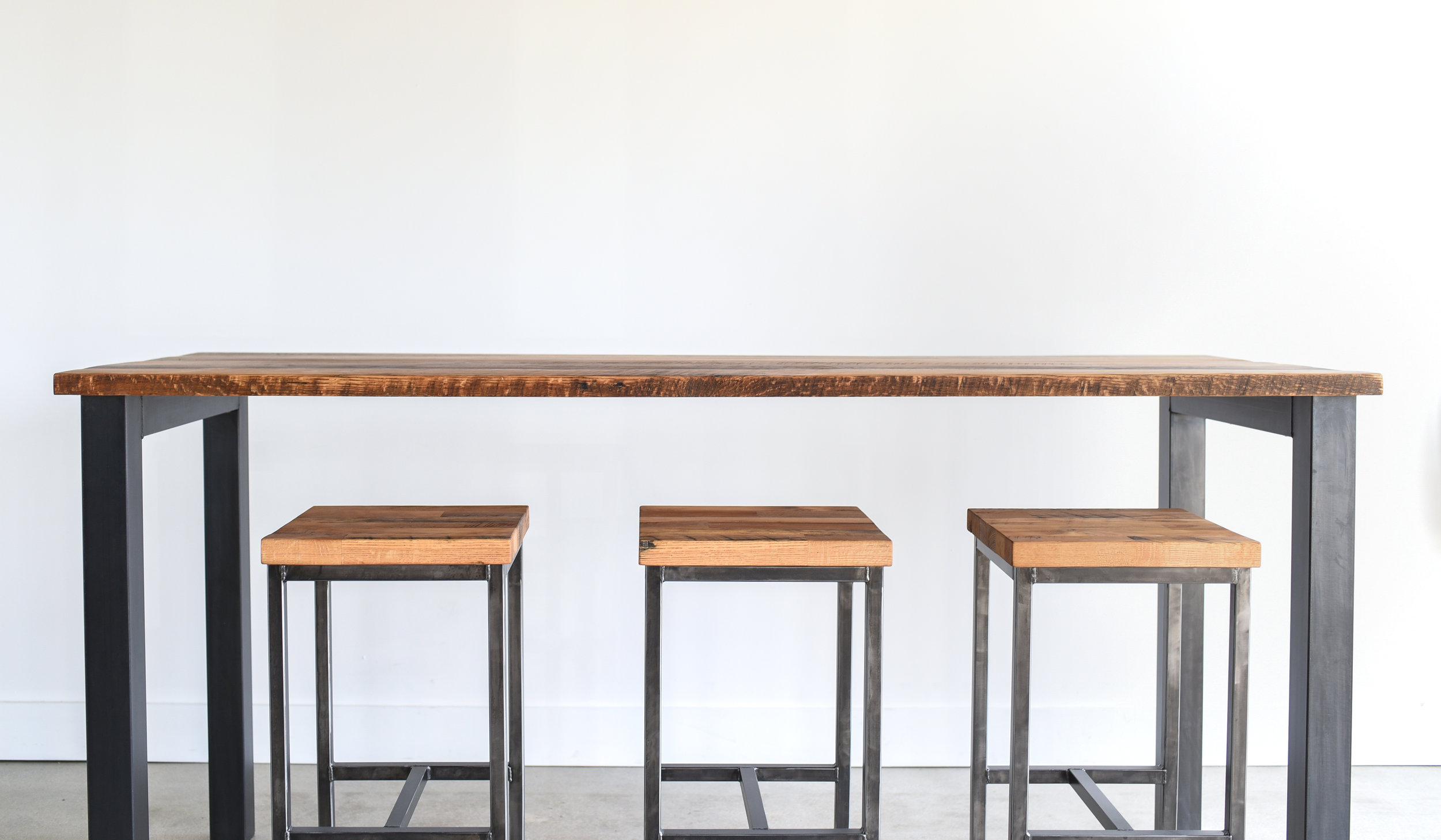 Reclaimed Wood Bar OR Counter Height Pub Table - WHAT WE MAKE
