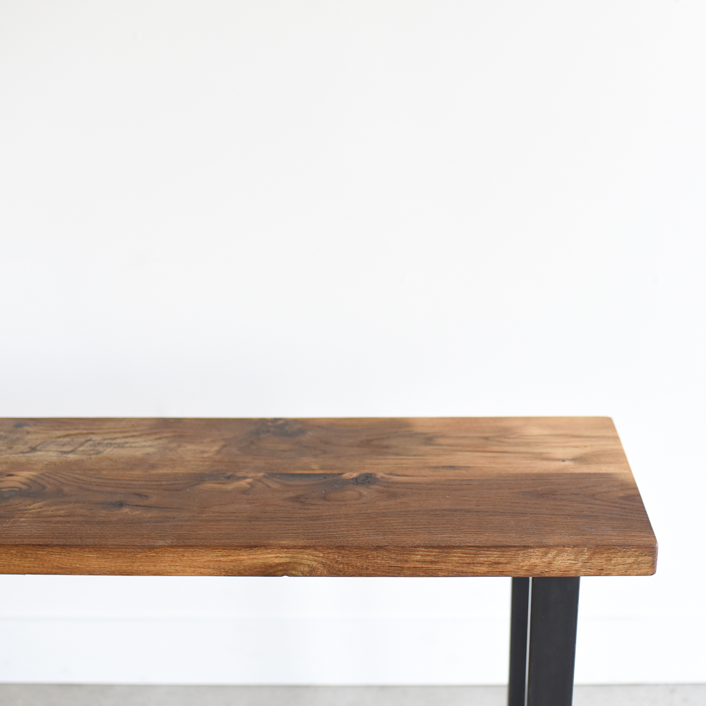 Reclaimed Wood Console Table With H Shaped Metal Legs What We Make