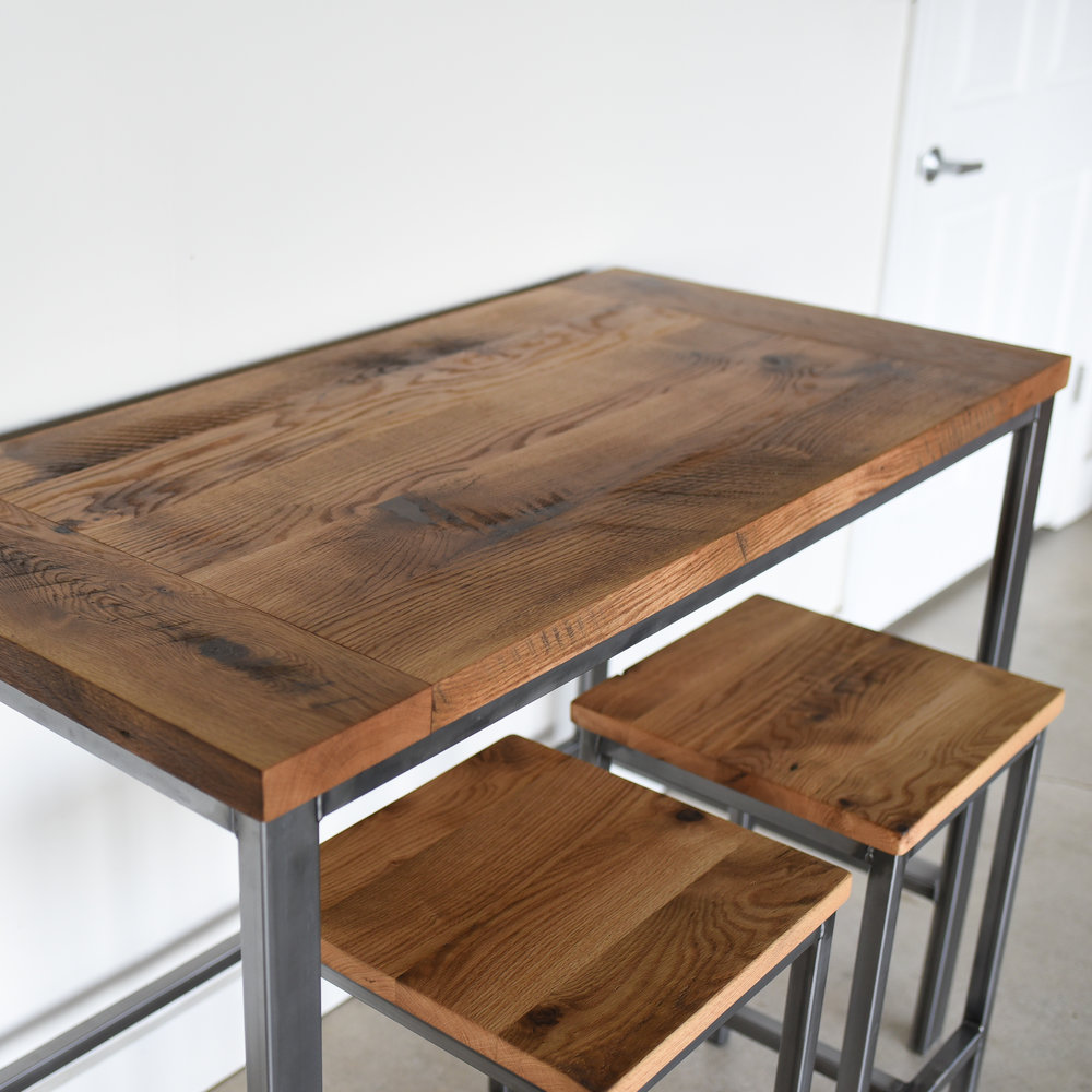Counter Height Reclaimed Wood Kitchen Table / Pub Table   WHAT WE MAKE
