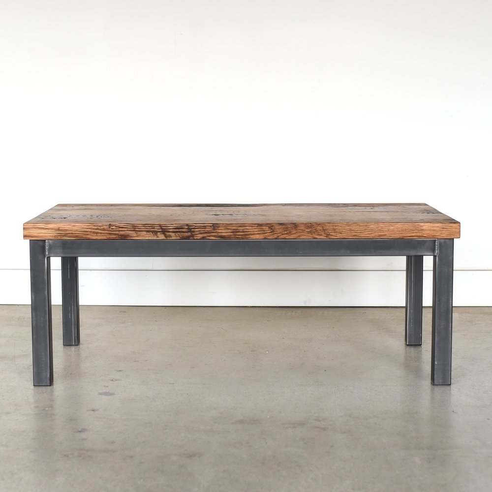 Industrial Steel Frame Coffee Table 2 Reclaimed Top What We Make