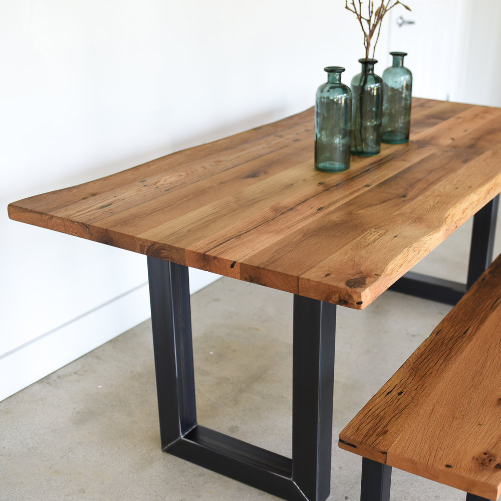 Reclaimed Live Edge Dining Table 3 X 3 Rectangle Metal Legs What We Make