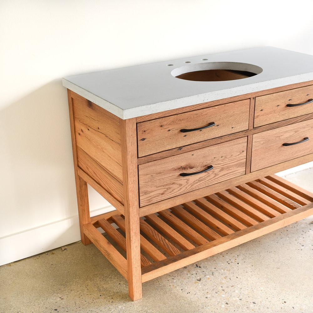 Reclaimed Wood 4 Drawer Vanity Slat Lower Shelf What We Make