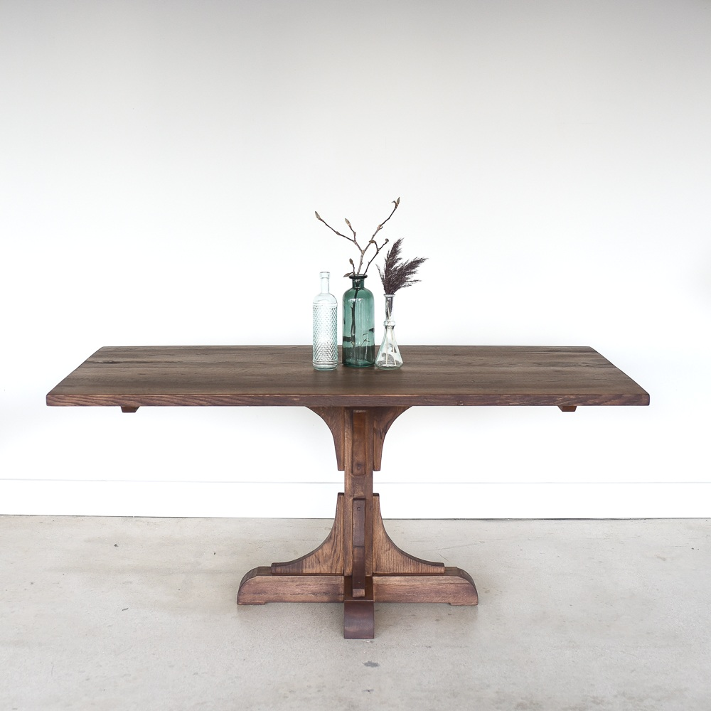 Farmhouse Reclaimed Wood Dining Table Pedestal Base What We Make