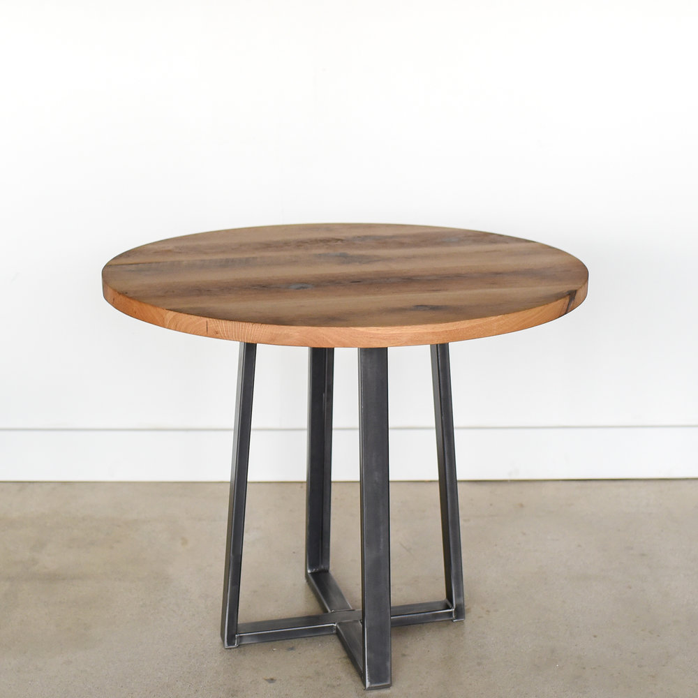 Round Industrial Reclaimed Wood Pub Table / 9