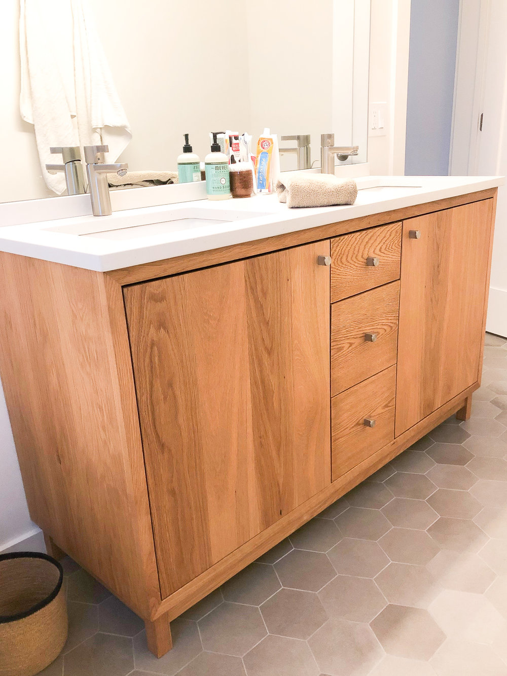 60 Modern White Oak Wood Vanity Double Sink What We Make