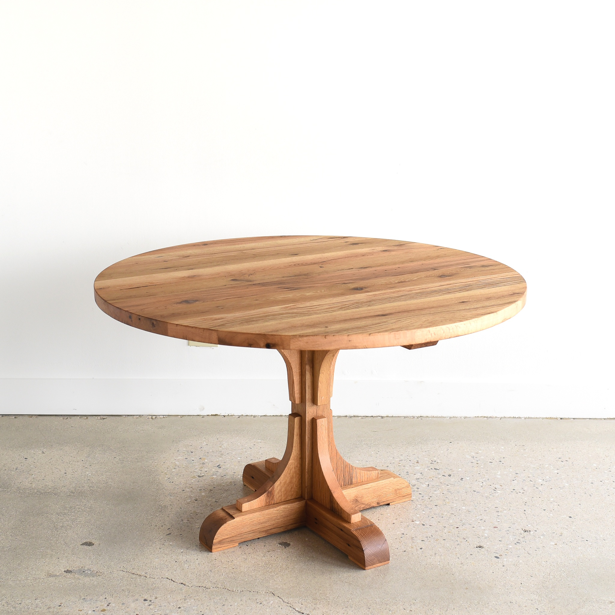 Reclaimed Wood Round Dining Table Pedestal Base What We Make