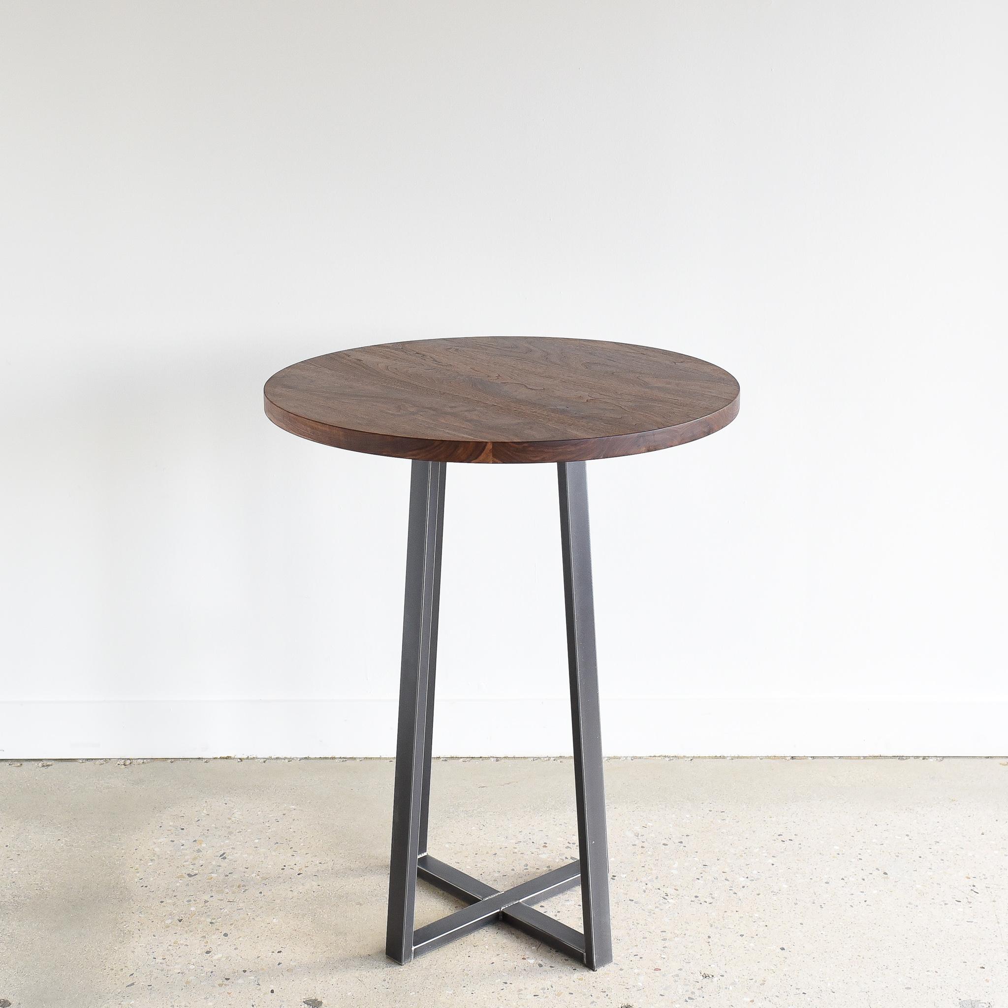 Round Walnut Bar Or Counter Height Pub