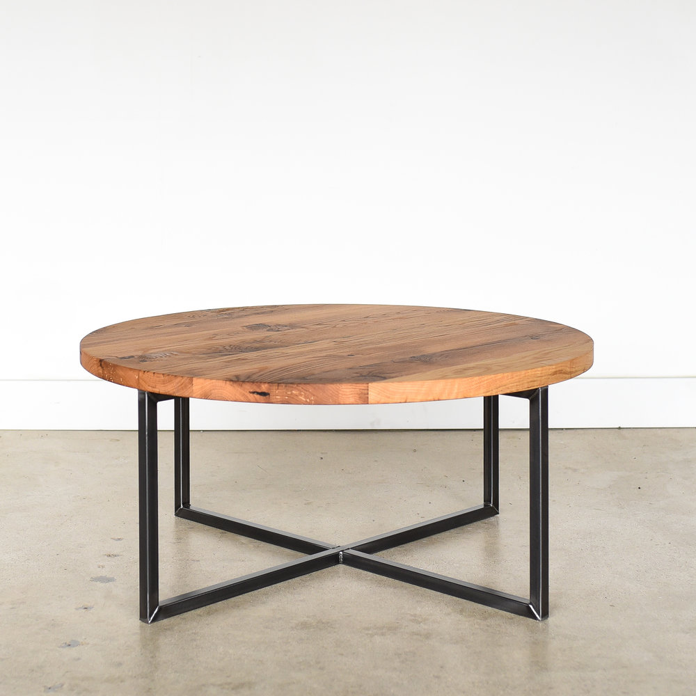Round Modern Reclaimed Coffee Table What We Make
