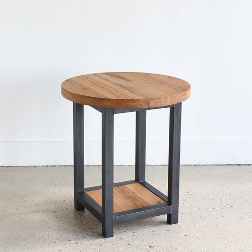 Round Reclaimed Wood End Table Lower Square Shelf What We Make