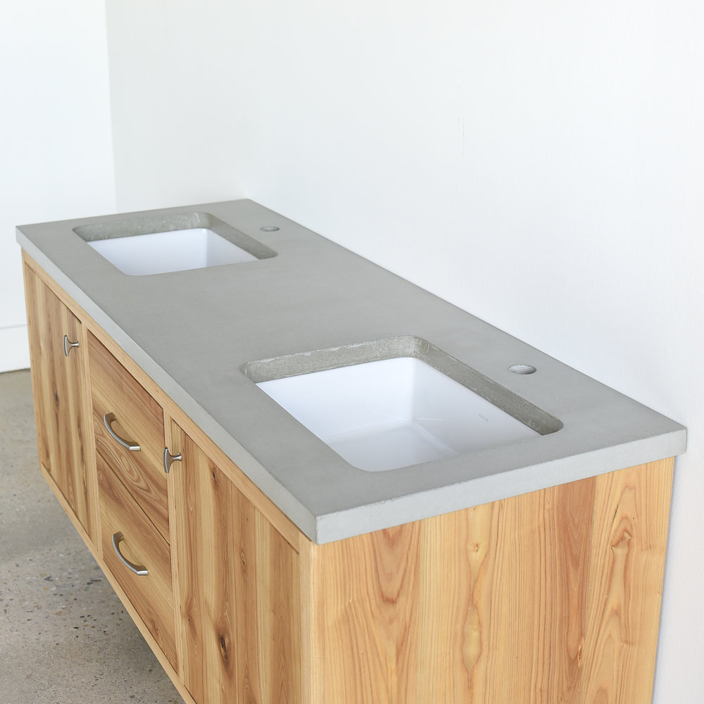 Concrete Vanity Top / Double Undermount Rectangle Sinks