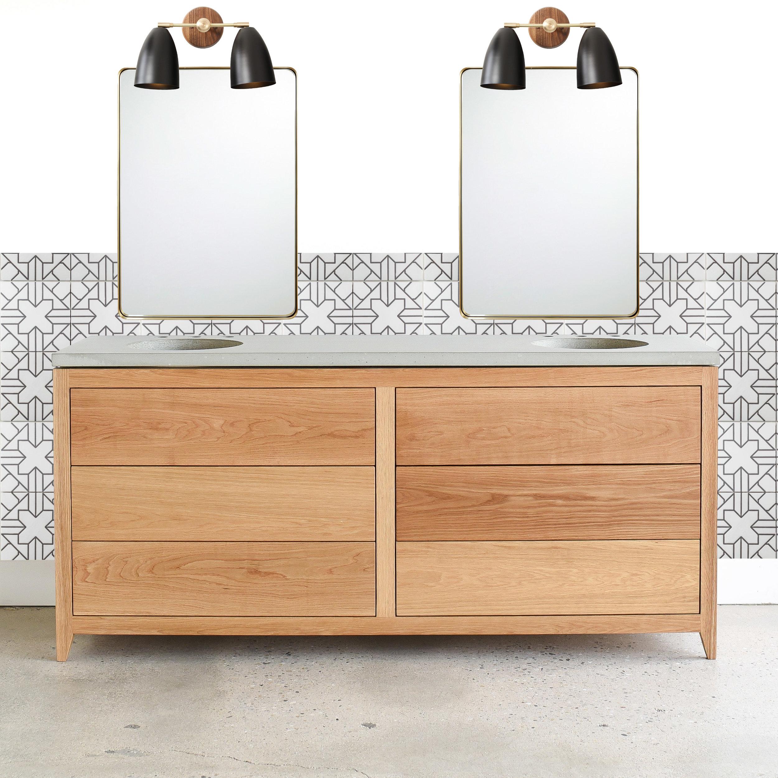 "72"" Mid Century Modern Double Sink Vanity"