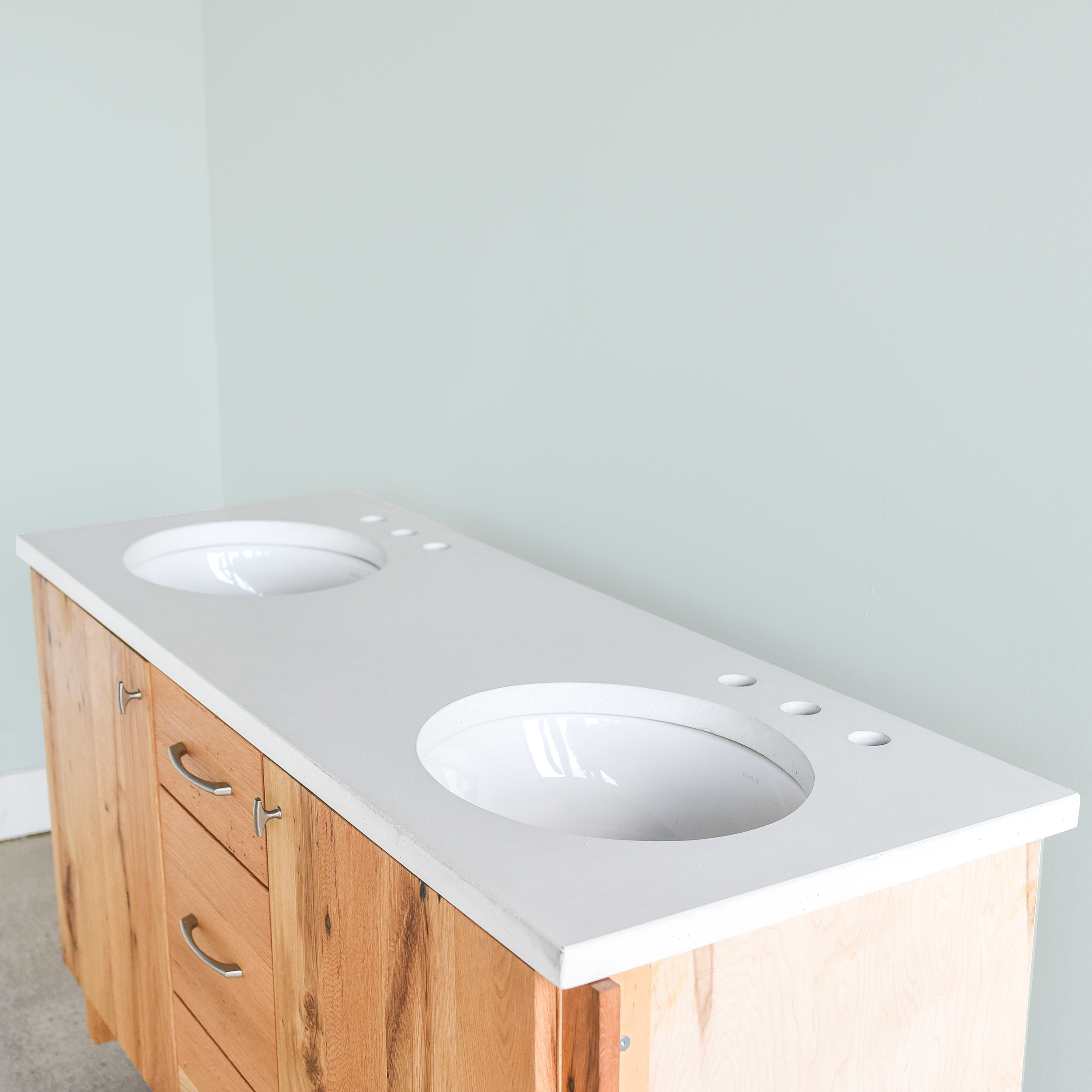 Concrete Vanity Top / Double Undermount Sinks - in white