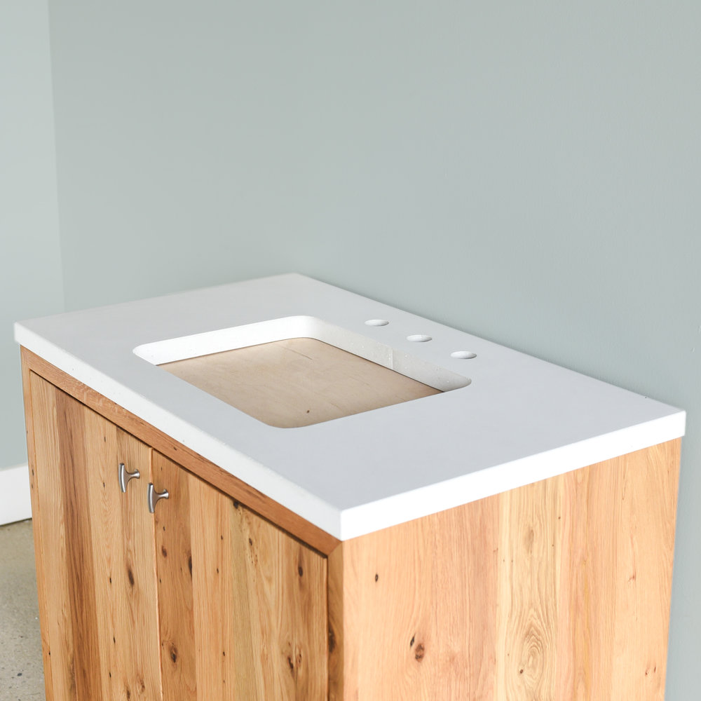 Concrete Vanity Top / Rectangle Undermount Sink - in white