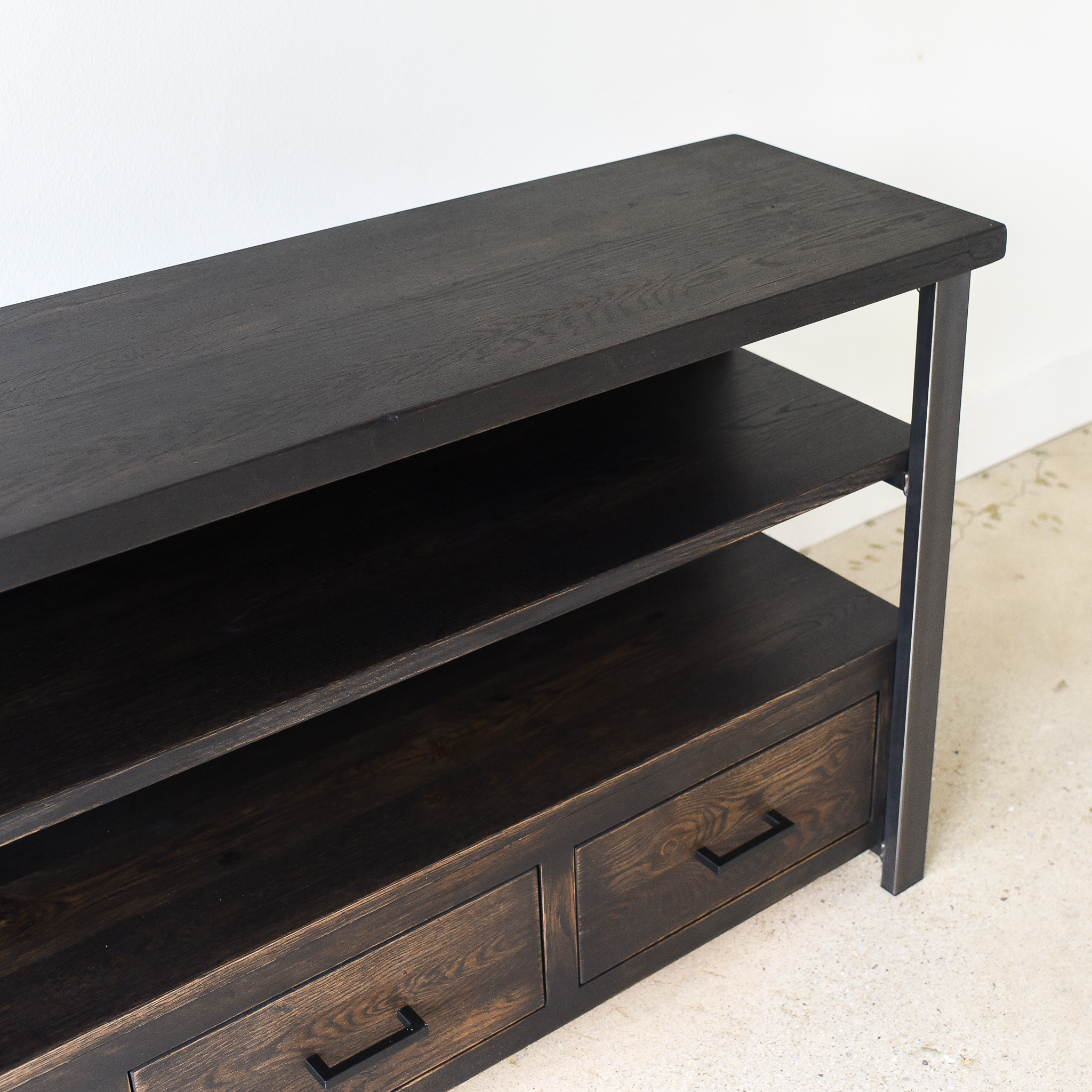 Reclaimed Storage Media Cabinet - black finish