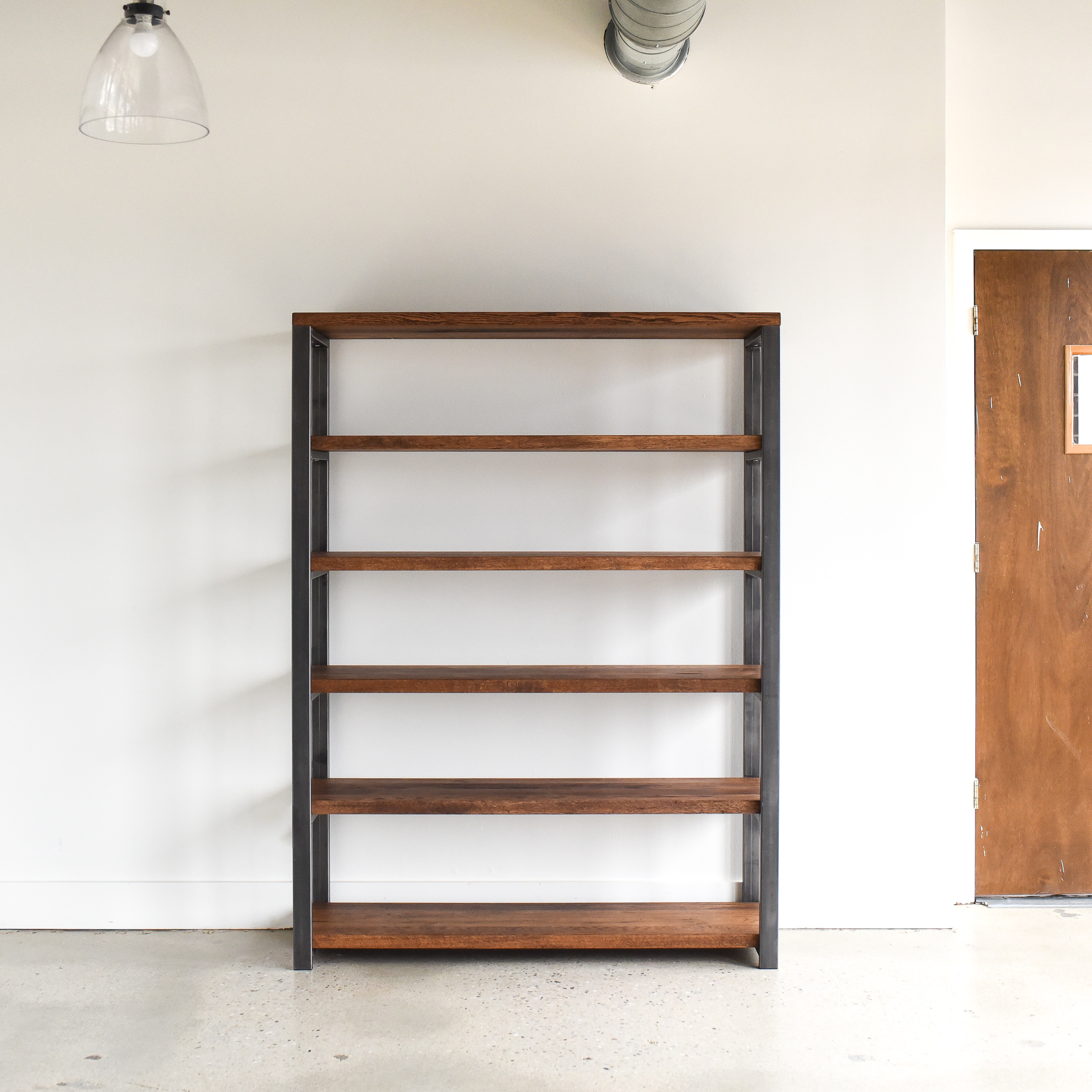 Open Industrial Bookcase with Reclaimed Wood Shelves