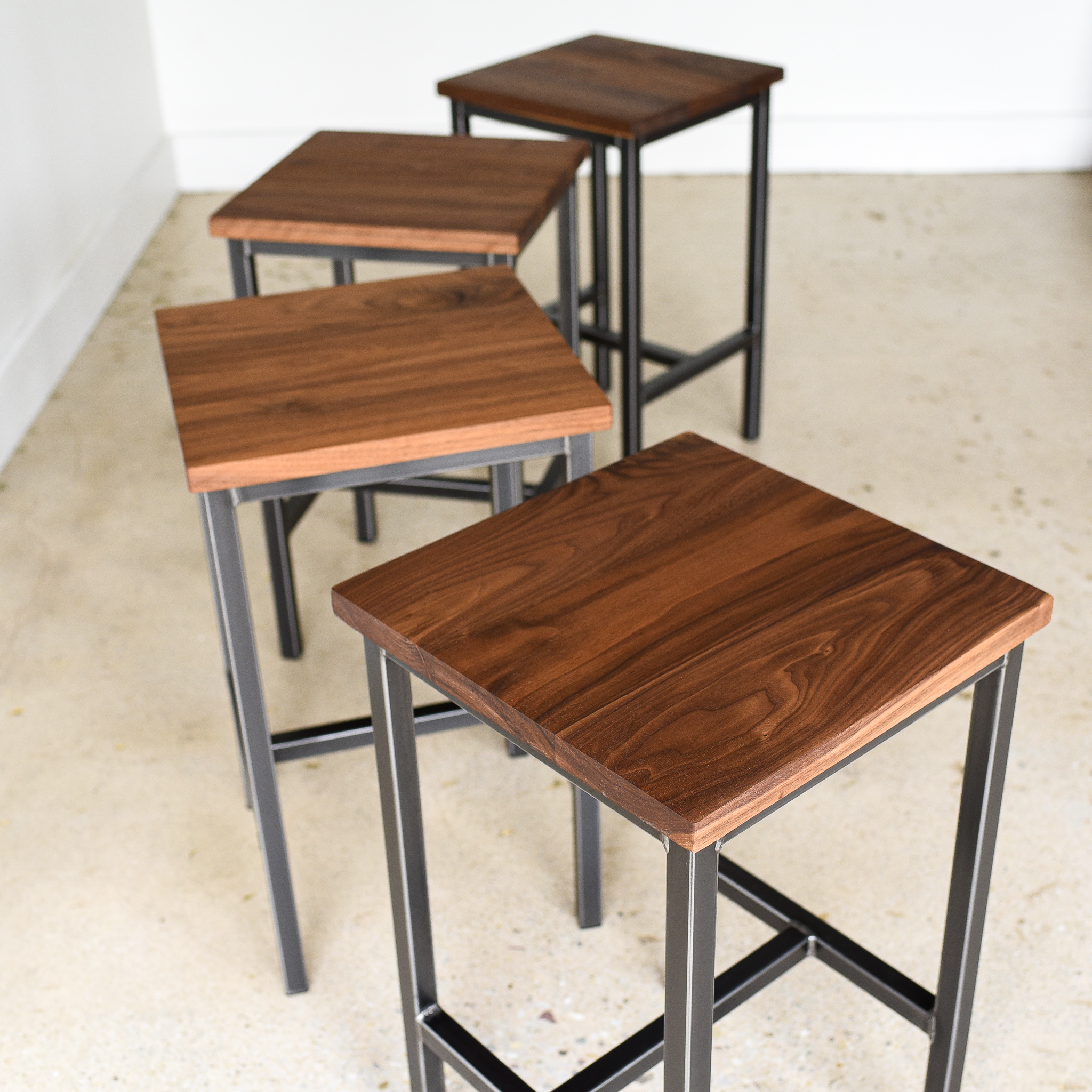 Walnut Backless Bar Stools