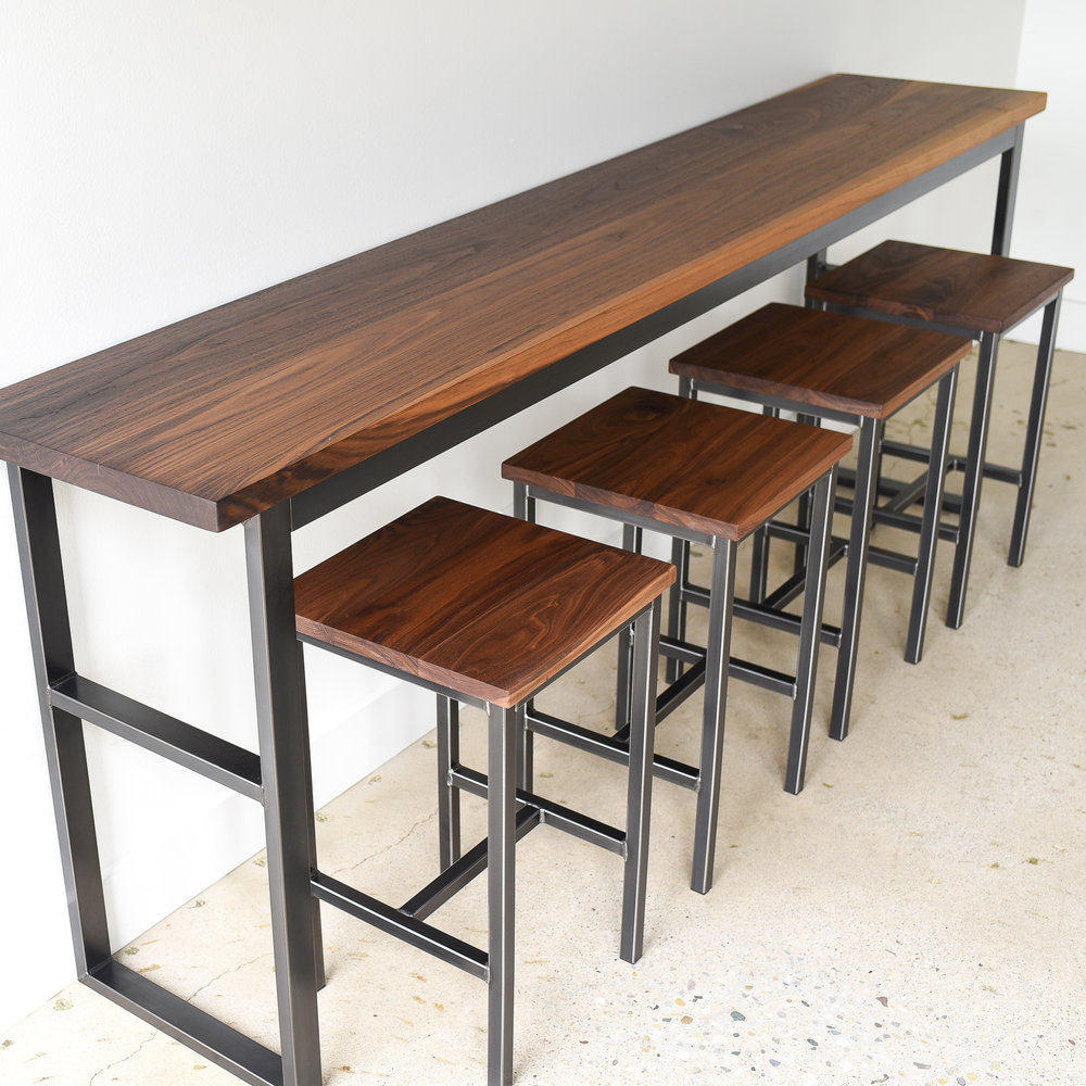 Industrial Walnut Pub Table - WHAT WE MAKE