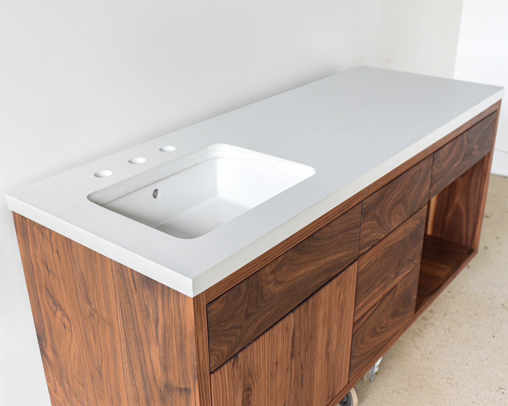 Concrete Floating Vanity Top Rectangle Undermount Sink What We Make