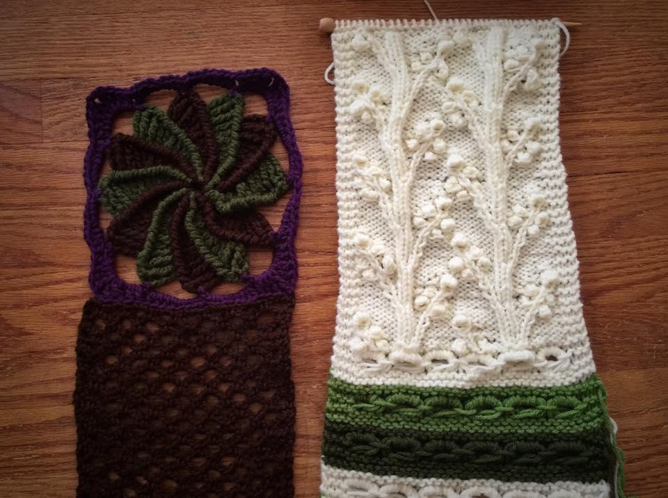 Crochet Lazy Wheel (left) and Knit Cherry Blossom Stitch (right)