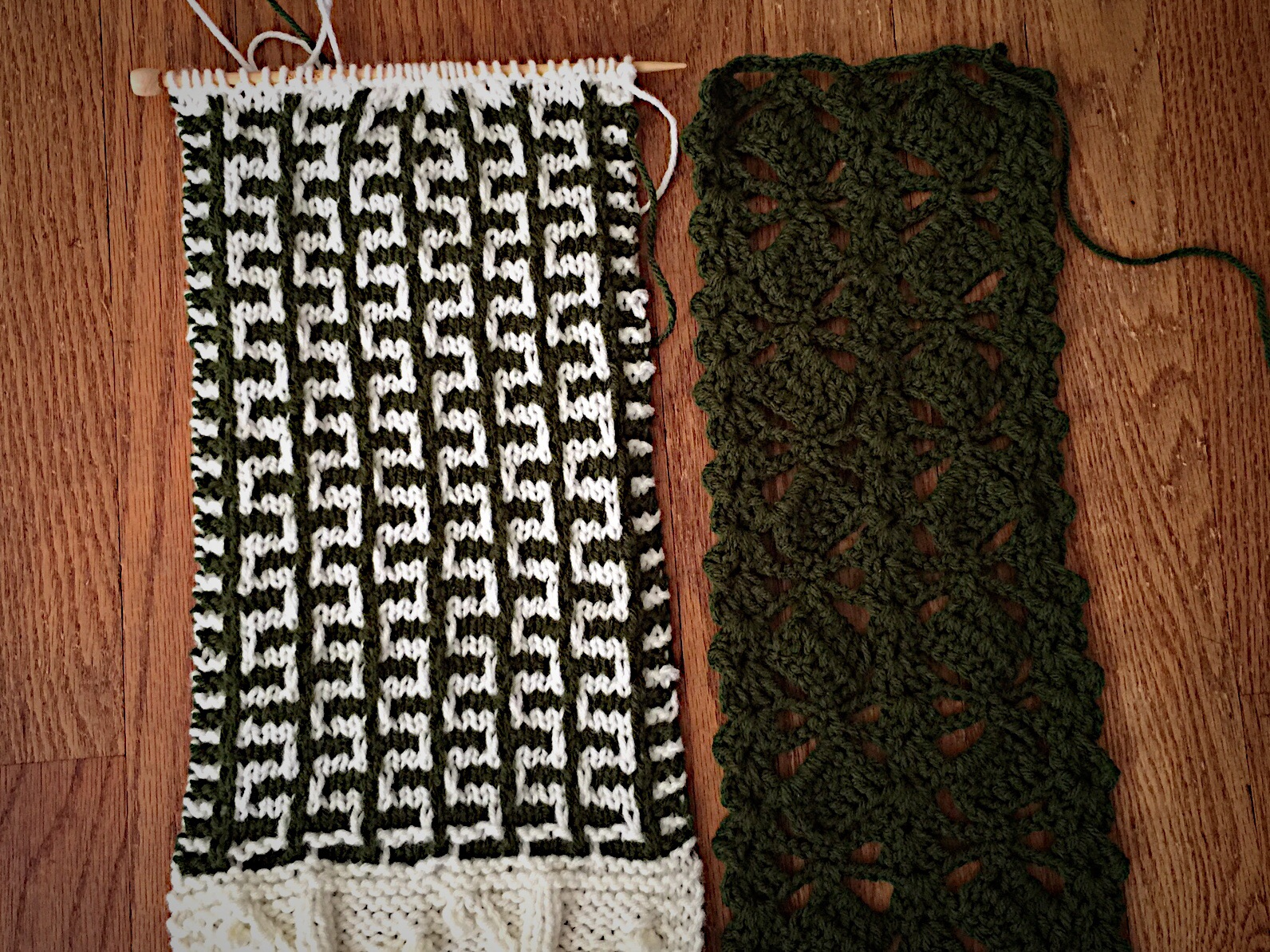 The Russian Mosaic Knit Stitch (left) and the Slanted Blocks Crochet Stitch (right).