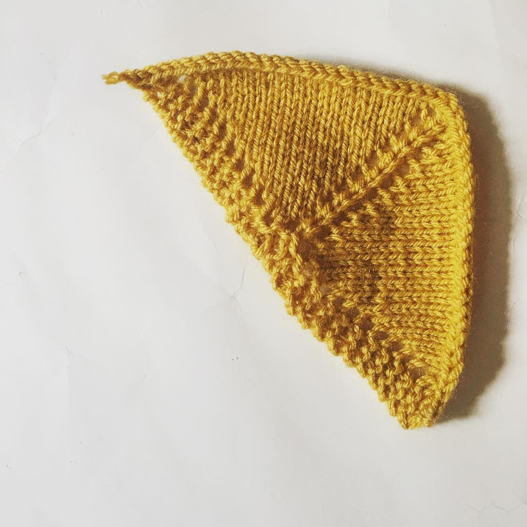 Our first project was learning the basic construction of triangular shawls, beginning with the popular garter tab cast-on.