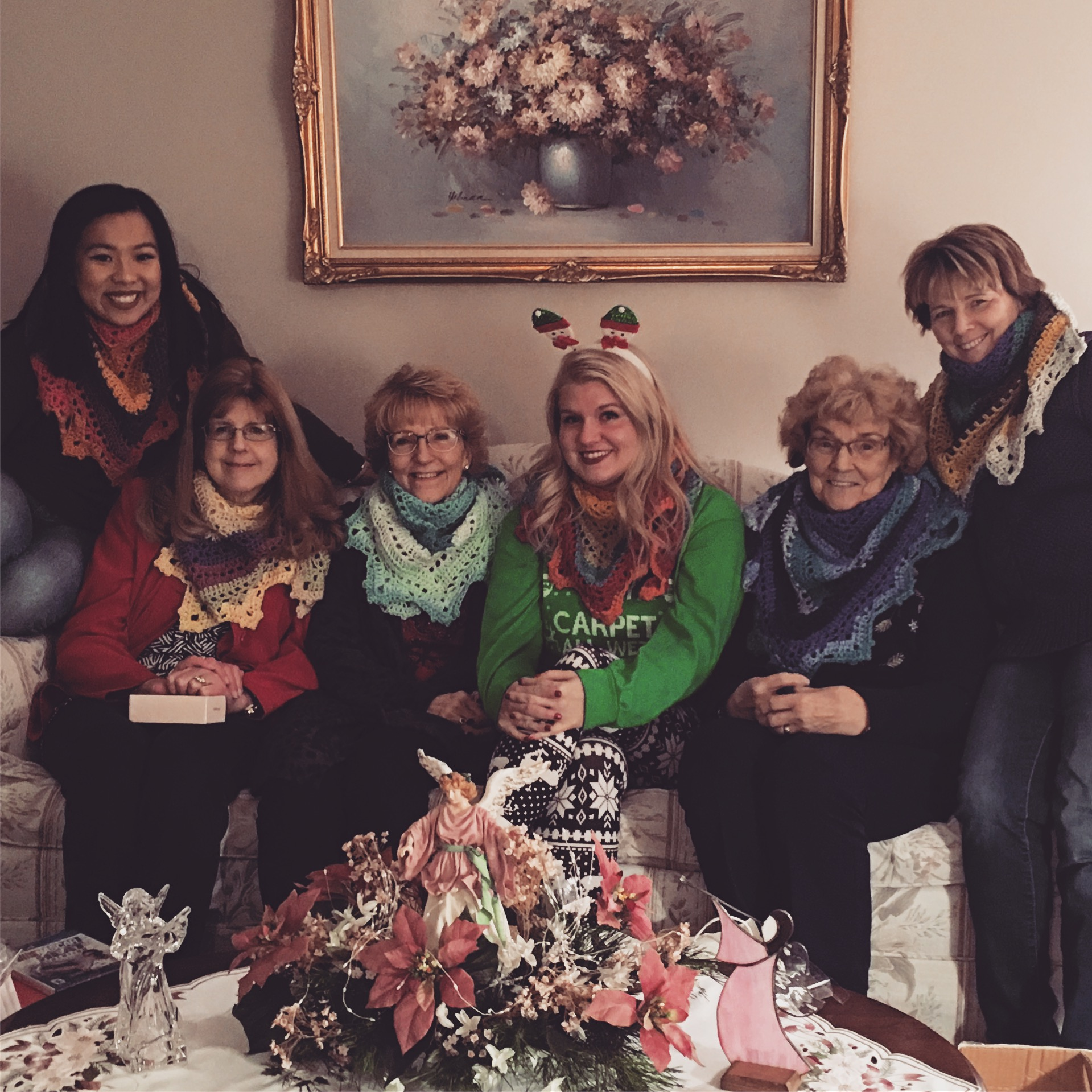 My family and me wearing our Penelope Shawls on Christmas night!