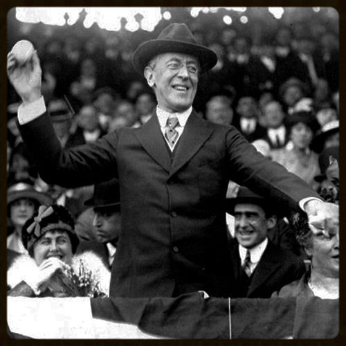 President Woodrow Wilson throwing the first ball on opening day, 1916