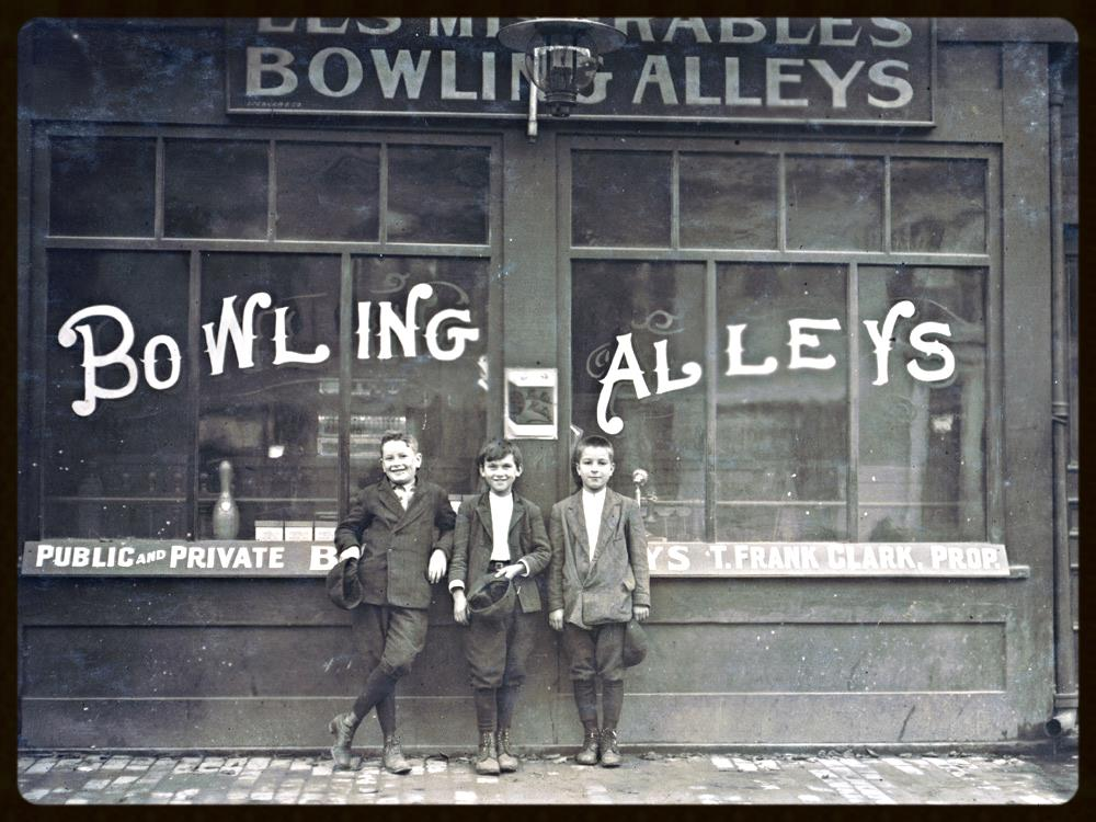 11 year old Pin Boys in Les Miserables Bowling Alleys, Lowell, Massachusetts, 1911