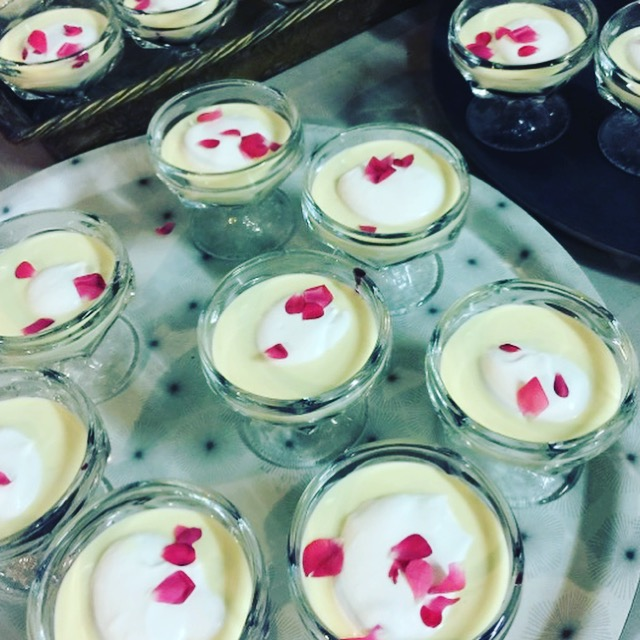The cardamom and rosewater creme anglaise with whipped cream carefully hid our lychee & gooseberry eyeball and elderberry syrup