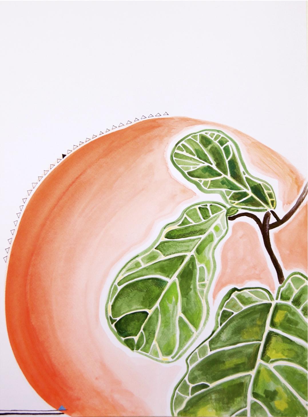 figgie & the giant peach \\ 18x24 mixed media on paper #mysortofgreenthumb >> S O L D <<