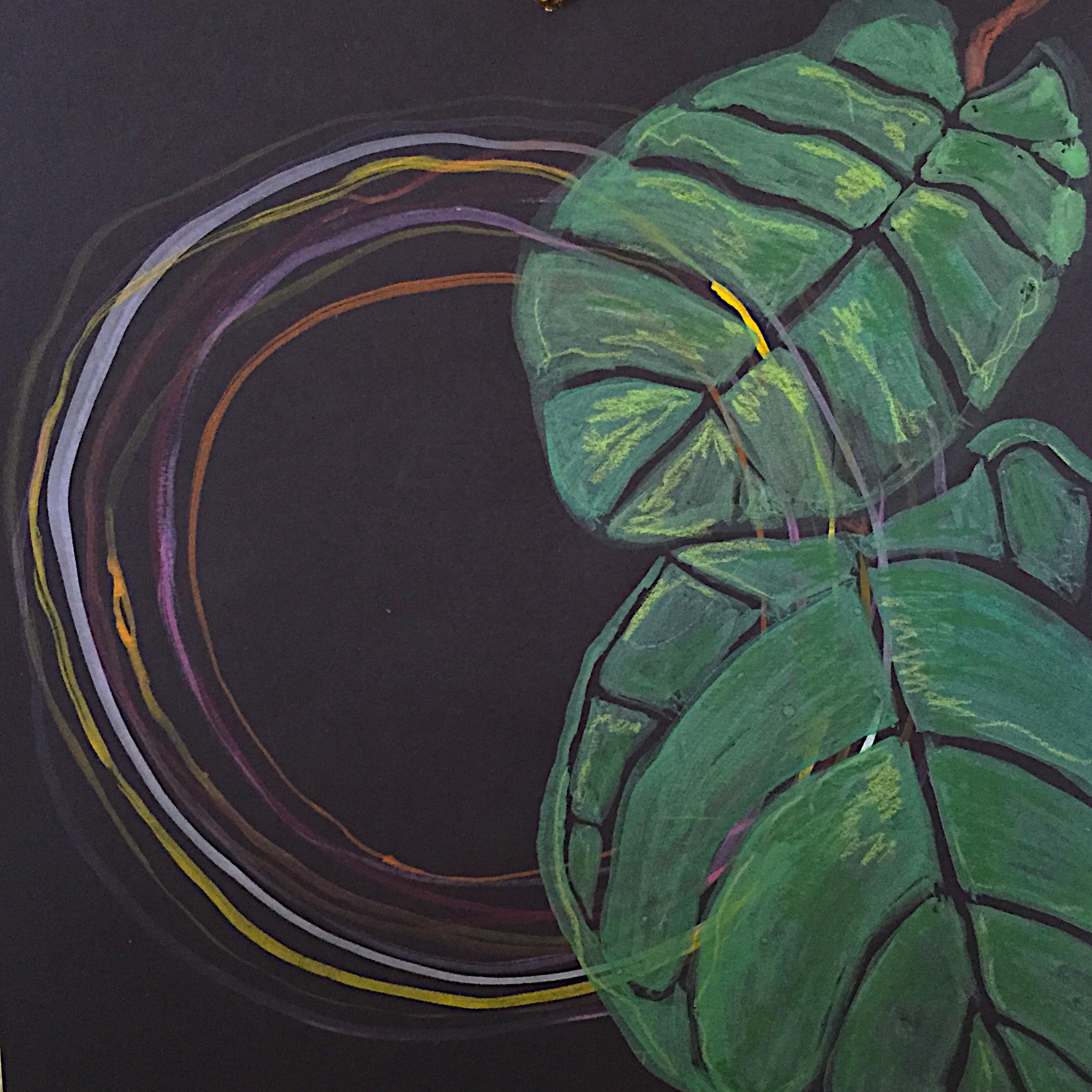 fiddle leaf fig fig.1 \\ 9x9 mixed media on paper  >> S O L D <<