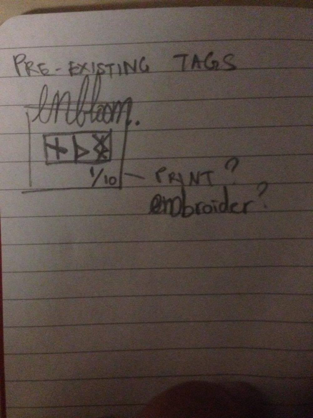 Preliminary sketches by Jefford regarding garment tags.