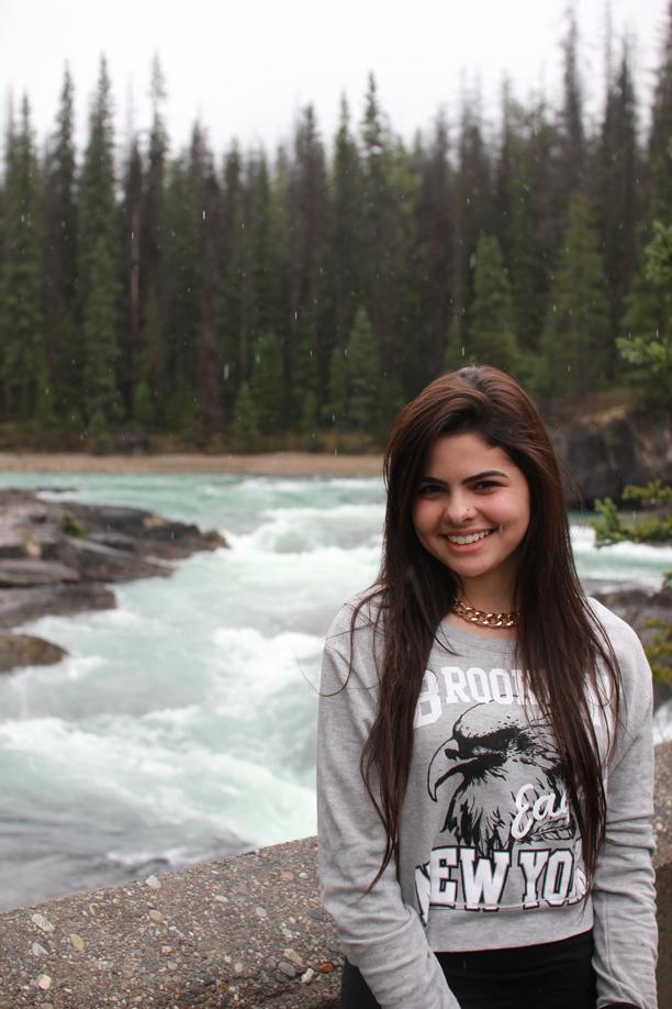 A aluna em um de seus passeios pela ilha de Vancouver