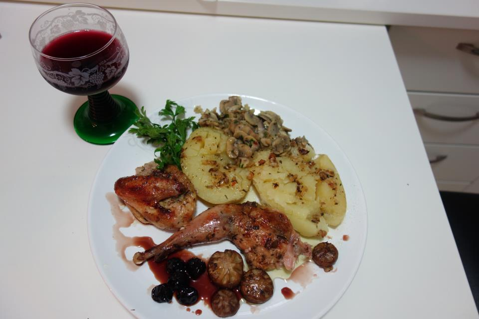 Roasted Pheasant with mushrooms and sweet sour cramberries