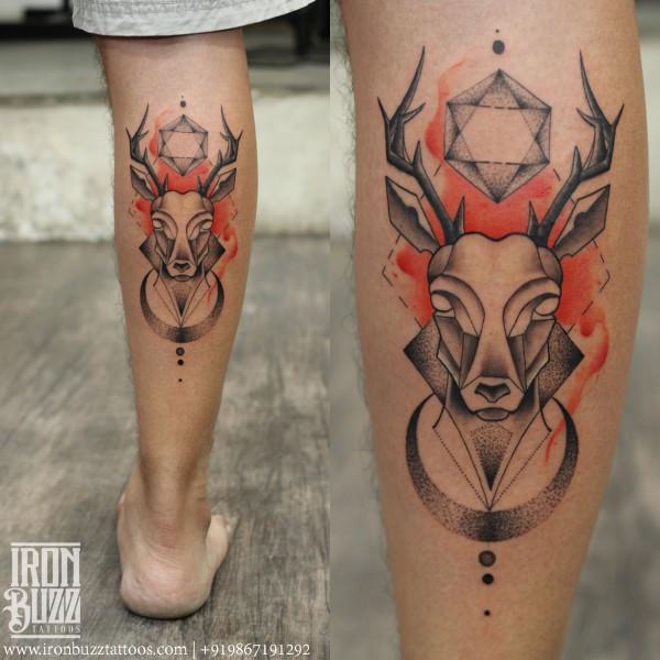 Watercolour geometric Stag Tattoo
