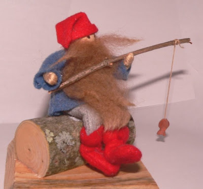 "Fishing Tomte, approx. 5"" tall. (SOLD)"