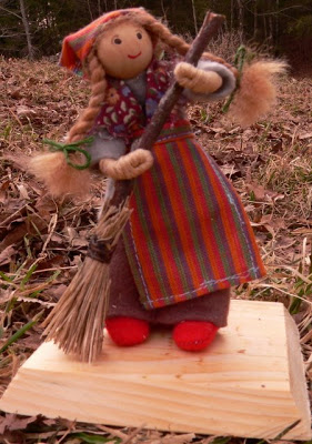 "Swedish Girl with Broom, approx. 5"" tall (SOLD)"