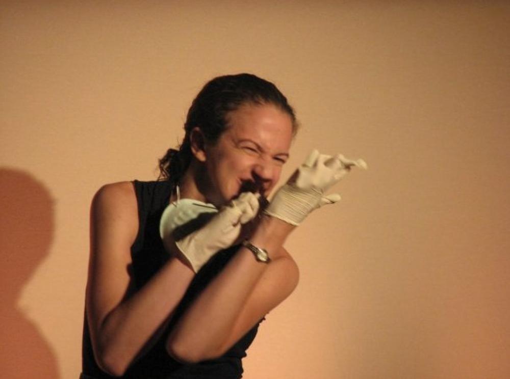 Dora in  The Nature Line Rehearsal, Omicron Theatre Project